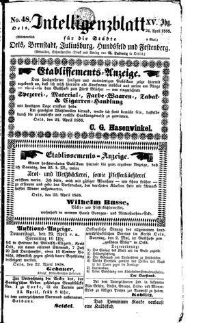 Intelligenzblatt für die Städte Oels, Bernstadt, Juliusburg, Hundsfeld und Festenberg vom 24.04.1858