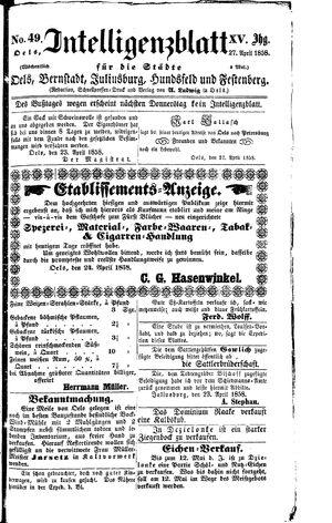 Intelligenzblatt für die Städte Oels, Bernstadt, Juliusburg, Hundsfeld und Festenberg on Apr 27, 1858
