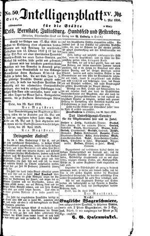 Intelligenzblatt für die Städte Oels, Bernstadt, Juliusburg, Hundsfeld und Festenberg vom 01.05.1858