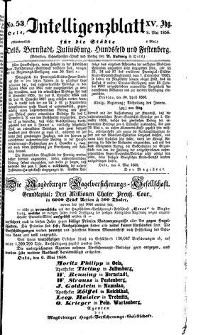Intelligenzblatt für die Städte Oels, Bernstadt, Juliusburg, Hundsfeld und Festenberg vom 08.05.1858