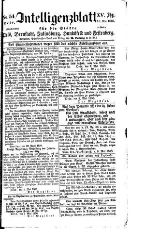 Intelligenzblatt für die Städte Oels, Bernstadt, Juliusburg, Hundsfeld und Festenberg vom 11.05.1858