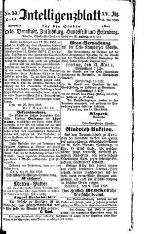 Intelligenzblatt für die Städte Oels, Bernstadt, Juliusburg, Hundsfeld und Festenberg vom 15.05.1858
