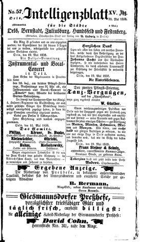 Intelligenzblatt für die Städte Oels, Bernstadt, Juliusburg, Hundsfeld und Festenberg vom 20.05.1858
