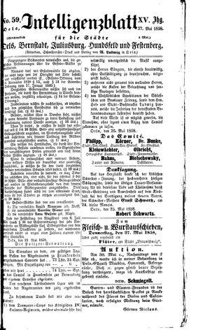 Intelligenzblatt für die Städte Oels, Bernstadt, Juliusburg, Hundsfeld und Festenberg on May 27, 1858