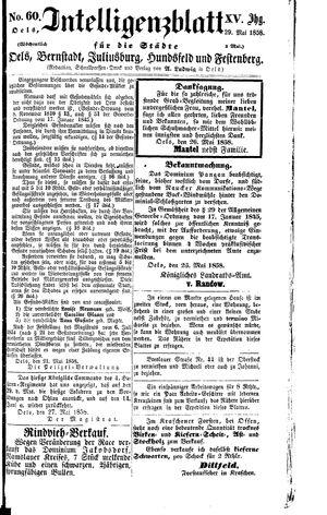 Intelligenzblatt für die Städte Oels, Bernstadt, Juliusburg, Hundsfeld und Festenberg vom 29.05.1858