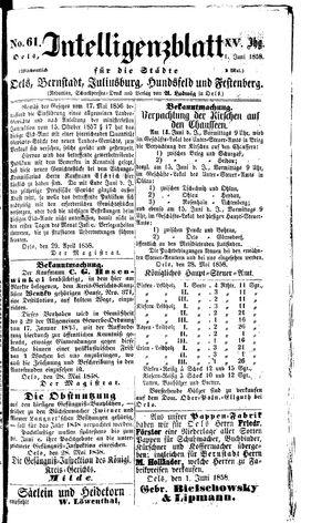 Intelligenzblatt für die Städte Oels, Bernstadt, Juliusburg, Hundsfeld und Festenberg vom 01.06.1858