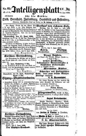 Intelligenzblatt für die Städte Oels, Bernstadt, Juliusburg, Hundsfeld und Festenberg vom 10.06.1858