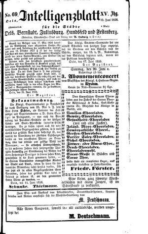 Intelligenzblatt für die Städte Oels, Bernstadt, Juliusburg, Hundsfeld und Festenberg vom 19.06.1858
