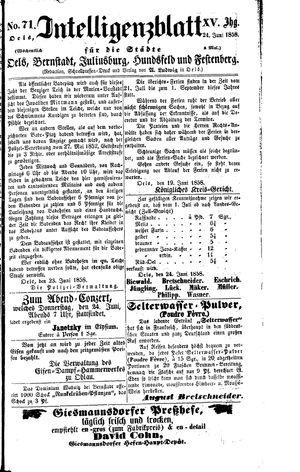 Intelligenzblatt für die Städte Oels, Bernstadt, Juliusburg, Hundsfeld und Festenberg vom 24.06.1858