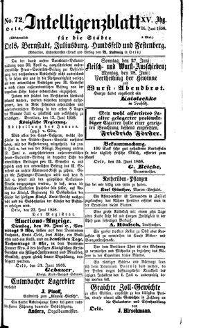 Intelligenzblatt für die Städte Oels, Bernstadt, Juliusburg, Hundsfeld und Festenberg vom 26.06.1858