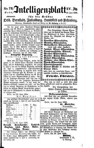 Intelligenzblatt für die Städte Oels, Bernstadt, Juliusburg, Hundsfeld und Festenberg vom 29.06.1858