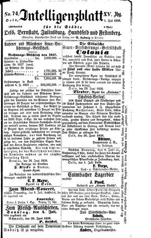 Intelligenzblatt für die Städte Oels, Bernstadt, Juliusburg, Hundsfeld und Festenberg vom 01.07.1858