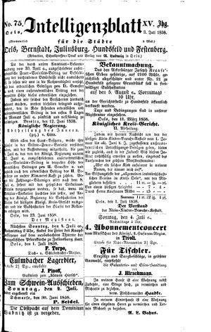 Intelligenzblatt für die Städte Oels, Bernstadt, Juliusburg, Hundsfeld und Festenberg vom 03.07.1858