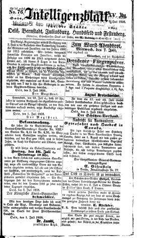 Intelligenzblatt für die Städte Oels, Bernstadt, Juliusburg, Hundsfeld und Festenberg vom 06.07.1858