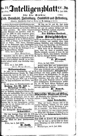 Intelligenzblatt für die Städte Oels, Bernstadt, Juliusburg, Hundsfeld und Festenberg vom 08.07.1858