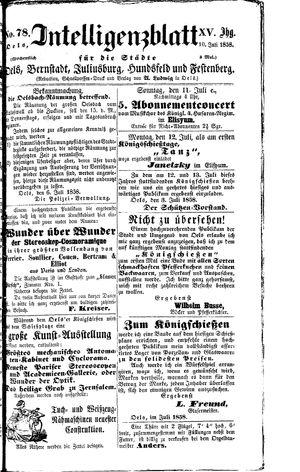 Intelligenzblatt für die Städte Oels, Bernstadt, Juliusburg, Hundsfeld und Festenberg vom 10.07.1858