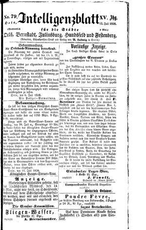 Intelligenzblatt für die Städte Oels, Bernstadt, Juliusburg, Hundsfeld und Festenberg vom 13.07.1858