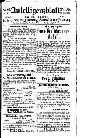 Intelligenzblatt für die Städte Oels, Bernstadt, Juliusburg, Hundsfeld und Festenberg vom 15.07.1858