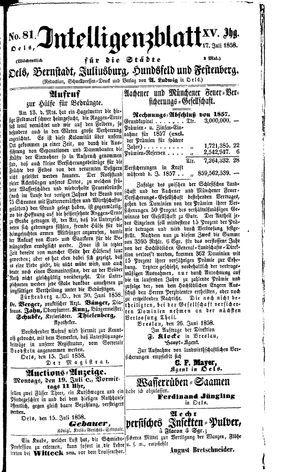 Intelligenzblatt für die Städte Oels, Bernstadt, Juliusburg, Hundsfeld und Festenberg vom 17.07.1858