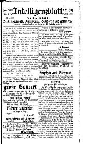 Intelligenzblatt für die Städte Oels, Bernstadt, Juliusburg, Hundsfeld und Festenberg vom 20.07.1858