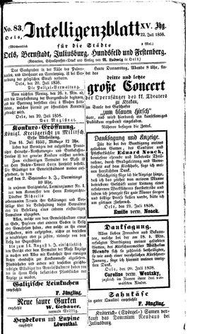 Intelligenzblatt für die Städte Oels, Bernstadt, Juliusburg, Hundsfeld und Festenberg vom 22.07.1858