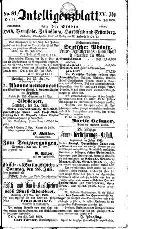 Intelligenzblatt für die Städte Oels, Bernstadt, Juliusburg, Hundsfeld und Festenberg vom 24.07.1858
