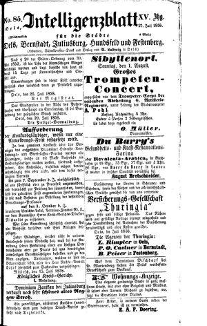 Intelligenzblatt für die Städte Oels, Bernstadt, Juliusburg, Hundsfeld und Festenberg vom 27.07.1858