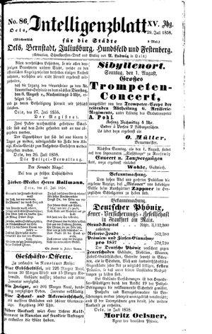 Intelligenzblatt für die Städte Oels, Bernstadt, Juliusburg, Hundsfeld und Festenberg vom 29.07.1858