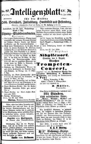 Intelligenzblatt für die Städte Oels, Bernstadt, Juliusburg, Hundsfeld und Festenberg vom 31.07.1858