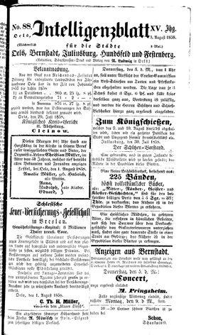 Intelligenzblatt für die Städte Oels, Bernstadt, Juliusburg, Hundsfeld und Festenberg vom 03.08.1858
