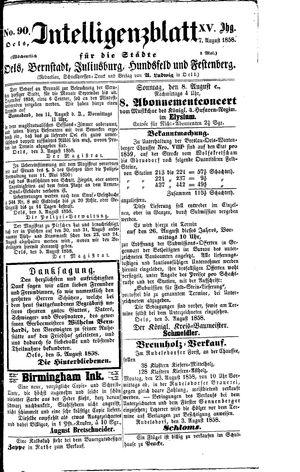 Intelligenzblatt für die Städte Oels, Bernstadt, Juliusburg, Hundsfeld und Festenberg vom 07.08.1858