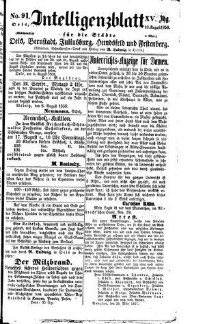 Intelligenzblatt für die Städte Oels, Bernstadt, Juliusburg, Hundsfeld und Festenberg on Aug 10, 1858
