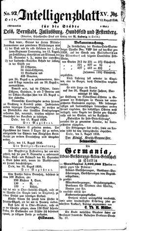 Intelligenzblatt für die Städte Oels, Bernstadt, Juliusburg, Hundsfeld und Festenberg vom 12.08.1858