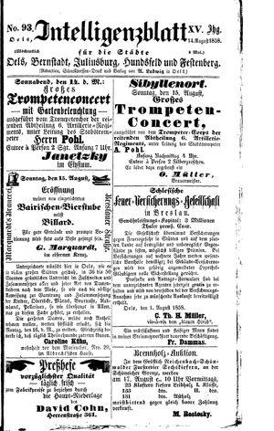 Intelligenzblatt für die Städte Oels, Bernstadt, Juliusburg, Hundsfeld und Festenberg vom 14.08.1858