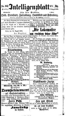 Intelligenzblatt für die Städte Oels, Bernstadt, Juliusburg, Hundsfeld und Festenberg vom 17.08.1858