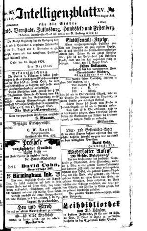 Intelligenzblatt für die Städte Oels, Bernstadt, Juliusburg, Hundsfeld und Festenberg vom 19.08.1858