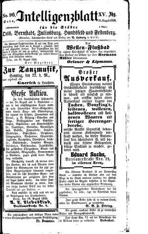 Intelligenzblatt für die Städte Oels, Bernstadt, Juliusburg, Hundsfeld und Festenberg vom 21.08.1858