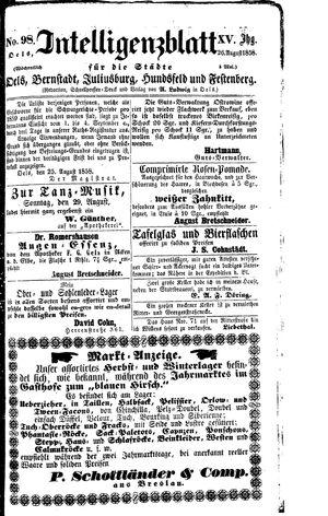 Intelligenzblatt für die Städte Oels, Bernstadt, Juliusburg, Hundsfeld und Festenberg vom 26.08.1858