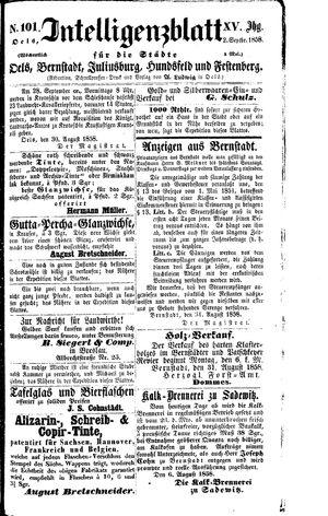Intelligenzblatt für die Städte Oels, Bernstadt, Juliusburg, Hundsfeld und Festenberg vom 02.09.1858
