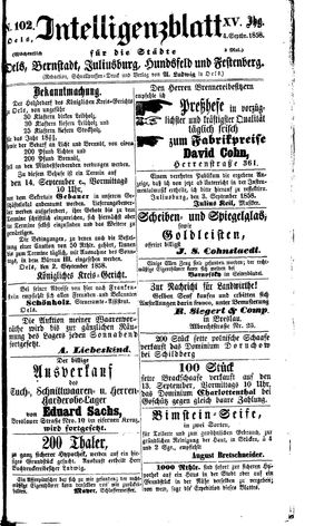 Intelligenzblatt für die Städte Oels, Bernstadt, Juliusburg, Hundsfeld und Festenberg vom 04.09.1858