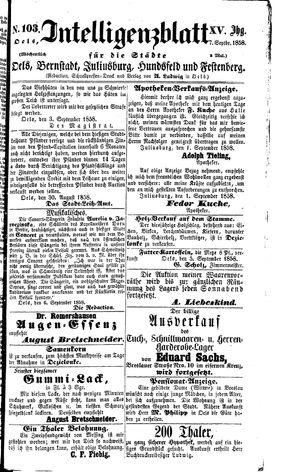 Intelligenzblatt für die Städte Oels, Bernstadt, Juliusburg, Hundsfeld und Festenberg vom 07.09.1858