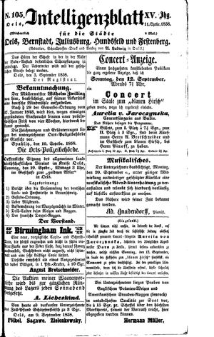 Intelligenzblatt für die Städte Oels, Bernstadt, Juliusburg, Hundsfeld und Festenberg vom 11.09.1858