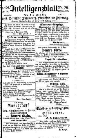 Intelligenzblatt für die Städte Oels, Bernstadt, Juliusburg, Hundsfeld und Festenberg vom 14.09.1858