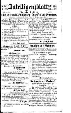 Intelligenzblatt für die Städte Oels, Bernstadt, Juliusburg, Hundsfeld und Festenberg vom 16.09.1858
