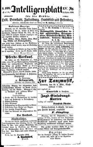 Intelligenzblatt für die Städte Oels, Bernstadt, Juliusburg, Hundsfeld und Festenberg vom 18.09.1858