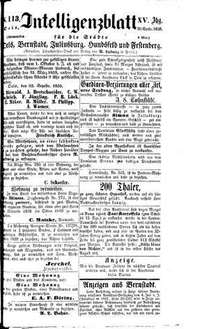 Intelligenzblatt für die Städte Oels, Bernstadt, Juliusburg, Hundsfeld und Festenberg vom 30.09.1858