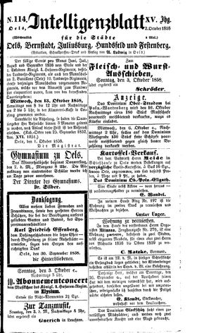 Intelligenzblatt für die Städte Oels, Bernstadt, Juliusburg, Hundsfeld und Festenberg vom 02.10.1858