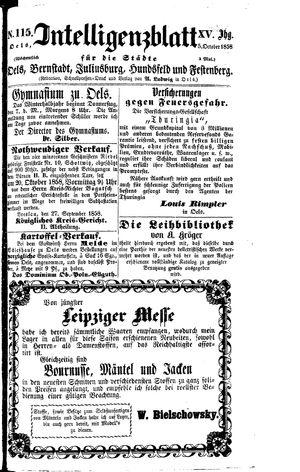 Intelligenzblatt für die Städte Oels, Bernstadt, Juliusburg, Hundsfeld und Festenberg vom 05.10.1858