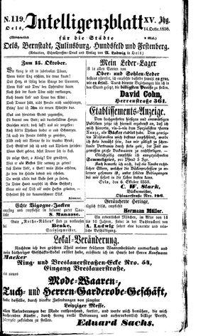 Intelligenzblatt für die Städte Oels, Bernstadt, Juliusburg, Hundsfeld und Festenberg on Oct 14, 1858