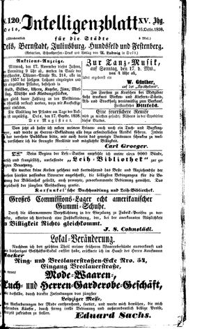 Intelligenzblatt für die Städte Oels, Bernstadt, Juliusburg, Hundsfeld und Festenberg vom 16.10.1858
